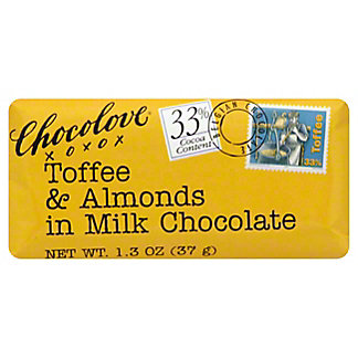 Chocolove Mini Toffee Almond Chocolate Bar,1.3 OZ