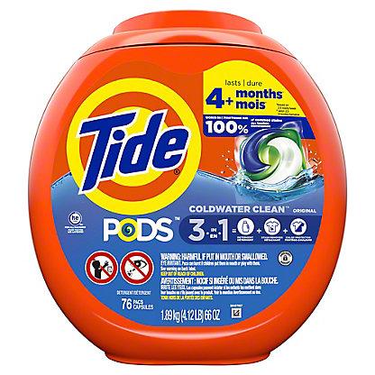 Tide PODS Liquid Detergent Pacs HE Original Scent, 81 ct