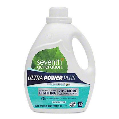 Seventh Generation Fresh Citrus Scent Ultra Power Plus Laundry Detergent, 54 Loads, 95 oz