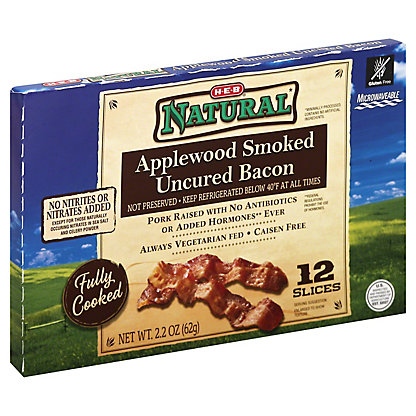 H-E-B Natural Fully Cooked Applewood Smoked Uncured Bacon,2.2 OZ