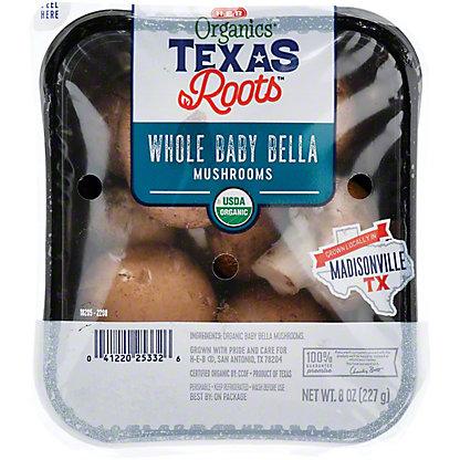H-E-B Organics Whole Baby Bella Mushrooms, 8 oz