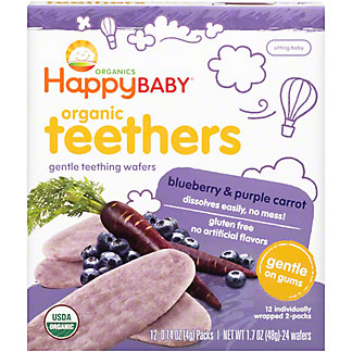 Happy Baby Organics Gentle Teethers Wafers Blueberry & Purple Carrot,12 ct