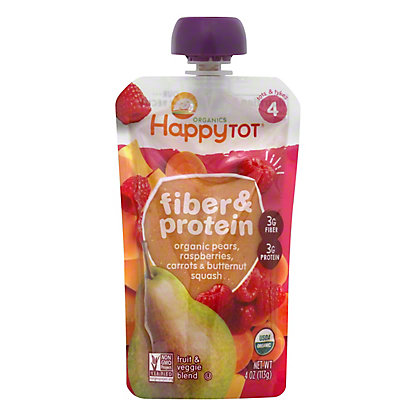 Happy Tot Organics Fiber & Protein Pear Raspberry Squash Carrot,4 OZ