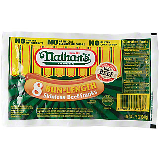 Nathan's Bun Length Skinless Beef Franks,8 CT