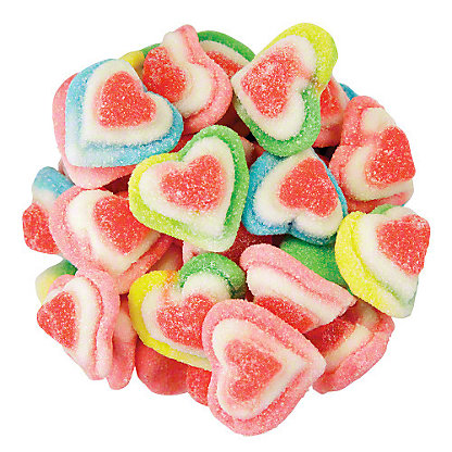 Vidal Gummi Triple Layer Rainbow Hearts, Sold by the pound