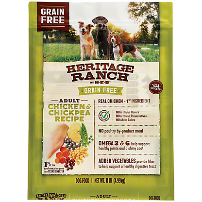 H-E-B Heritage Ranch Grain Free Chicken & Chickpea Recipe Dry Dog Food, 11 lb
