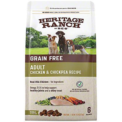 H-E-B Heritage Ranch Grain Free Chicken & Chickpea Recipe Dry Dog Food, 6 lb