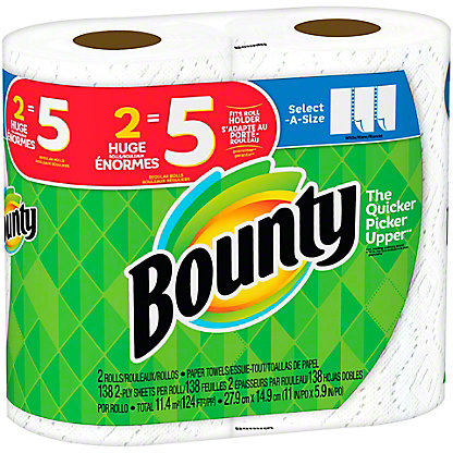Bounty Select-A-Size White Paper Towels,2 Rolls