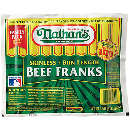 Nathan's Family Pack Skinless Beef Franks,2 LBS