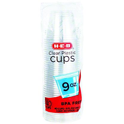 H-E-B Clear Cups 9 oz,40.00 ea