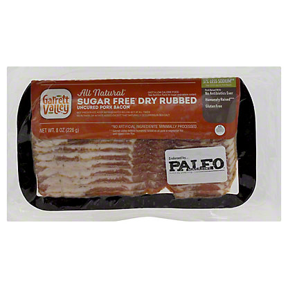 Garrett Valley Sugar Free Dry Rubbed Bacon,8 OZ