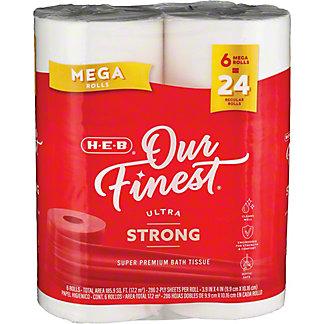 H-E-B Our Finest Ultra Strong Mega Rolls Bath Tissue, 6 ct