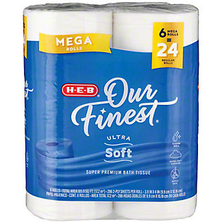 H-E-B Our Finest Ultra Soft Bath Tissue Mega Rolls,6 CT