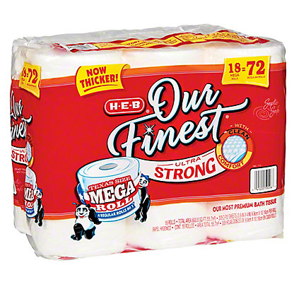 H-E-B Our Finest Ultra Strong Mega Rolls Bath Tissue, 18 ct