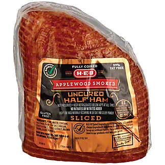 H-E-B Boneless Applewood Smoked Sliced Ham with Natural Juices,sold by the pound