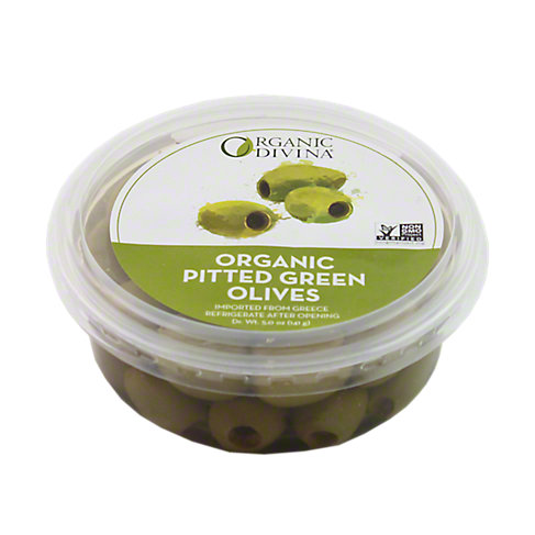 Divina Organic Pitted Green Olive Cup, 5 OZ