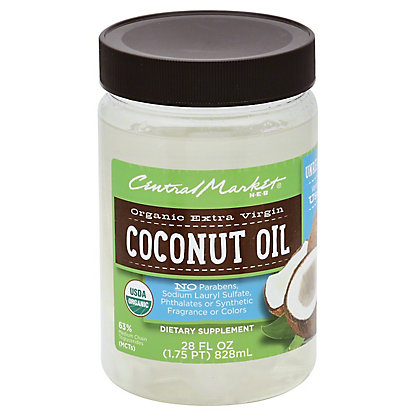 Central Market Organic Extra Virgin Unrefined Coconut Oil,28 OZ