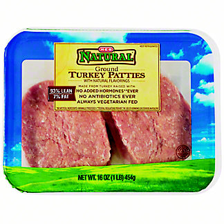H-E-B 93% Lean Natural Ground Turkey Patties,16 OZ