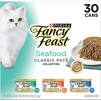 Purina Fancy Feast Seafood Feast Variety Classic Gourmet Cat Food, 30 ct