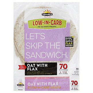 Tumaros Low-In-Carb Oat With Flax Wraps, 8 ct