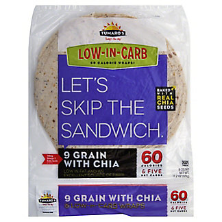 Tumaros Low-In-Carb 9 Grain With Chia Wrap, 8 ct