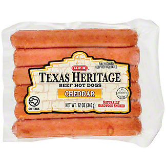 H-E-B Texas Heritage Beef Hot Dogs -Longhorn Cheddar,12 oz