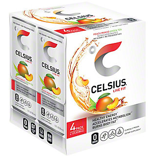 Celsius Peach Mango Green Tea 4 pk, 4/12 oz