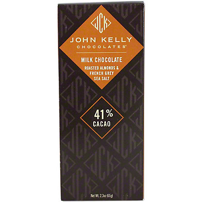 John Kelly Milk Chocolate Roasted Almonds and French Grey Sea Salt, 2.3OZ