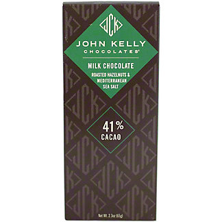John Kelly Milk Chocolate Roasted Hazelnuts Mediterranean Sea Salt, 2.3OZ