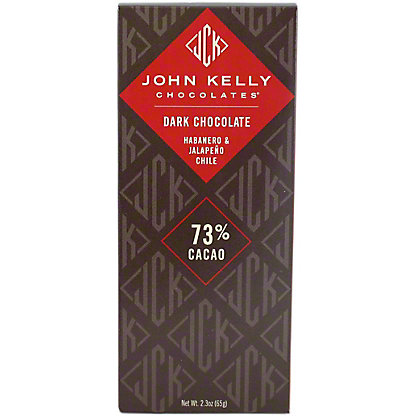 John Kelly Dark Chocolate Habanero and Jalapeno Chile Bar, 2.3OZ