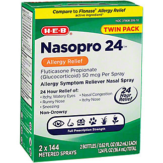 H-E-B Nasopro 24 Allergy Relief Nasal Spray Twin Pack, 1.08 oz