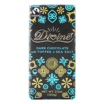 Divine Dark Chocolate Toffee W/ Sea Salt Bar, 3.5 oz