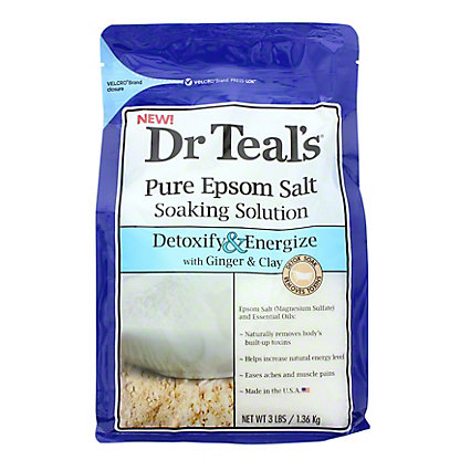 Dr Teal's Pure Epsom Salt Soak Solution Detox & Energize,3 LBS