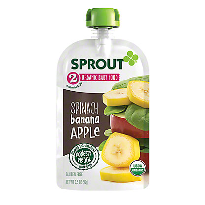 Sprout Stage 2 Spinach Banana Apple Organic Baby Food,3.5 oz