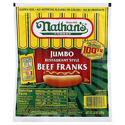 Nathan's Jumbo Restaurant Style Beef Franks,12 OZ