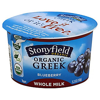 Stonyfield Organic Greek Whole Milk Blueberry Yogurt, 5.30 oz