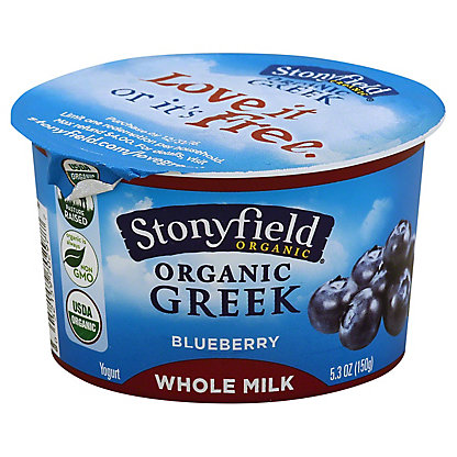 Stonyfield Organic Greek Whole Milk Blueberry Yogurt, 5.30 oz