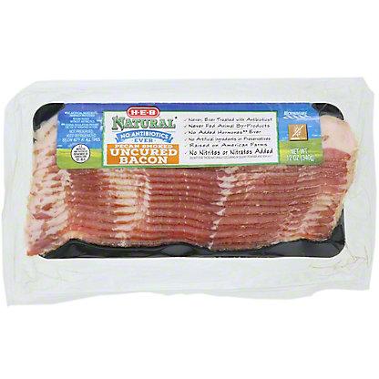 H-E-B Natural Pecan Smoked Uncured Bacon, 12 oz