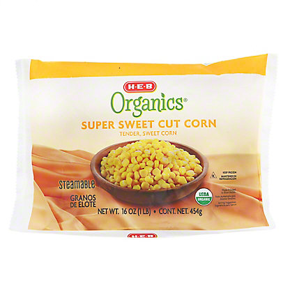 H-E-B Organics Super Sweet Cut Corn, Steamable,16 oz