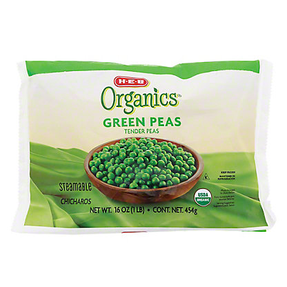 H-E-B Organics Green Tender Peas, Steamable,16 oz
