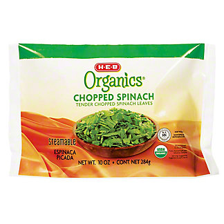 H-E-B Organics Steamable Chopped Spinach Leaves,10 oz