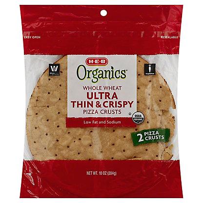 H-E-B Organics Whole Wheat Thin and Crispy Pizza Crusts, 2 ea