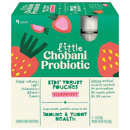 Chobani Kids Strawberry and Grape Greek Yogurt Pouches, 4 ct