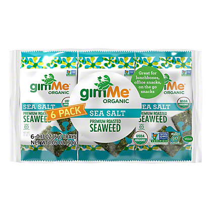 Gimme Seaweed Snacks Organic Roasted Sea Salt, 6 pk