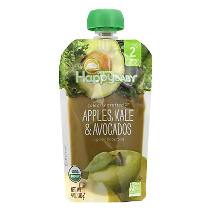 Happy Baby Organics Clearly Crafted Stage 2 Apples, Kale, Avocados, 4 oz