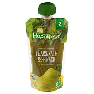Happy Baby Organics Clearly Crafted Stage 2 Pears Kale Spinach,4 OZ