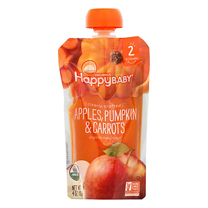 Happy Baby Organics Clearly Crafted Stage 2 Apples, Pumpkin, Carrots,4 OZ