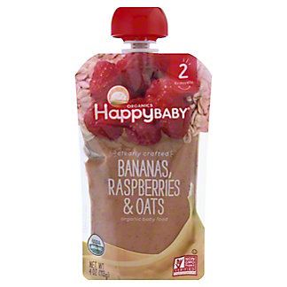 Happy Baby Organics Clearly Crafted Stage 2 Banana, Raspberries, Oat,4 OZ