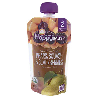 Happy Baby Organics Clearly Crafted Stage 2 Pear, Squash, Blackberry,4 OZ