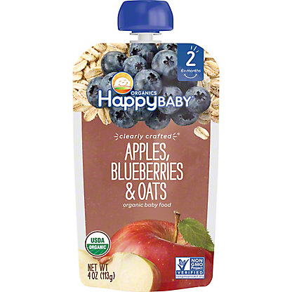Happy Baby Organics Clearly Crafted Stage 2 Apple Blueberries Oats,4 OZ